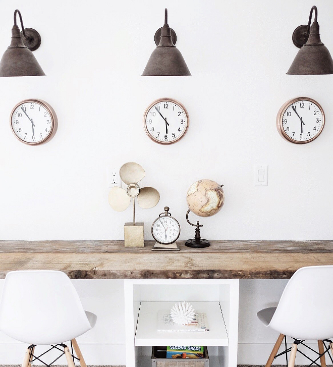 Farmhouse home office. Farmhouse home office lighting. Lights are Restoration Hardware - Vintage French Farmhouse Sconce. #farmhouselighting #farmhouse #farmhouseoffice #homeoffice #farmhouseinteriors Beautiful Homes of Instagram @nc_homedesign via Home Bunch