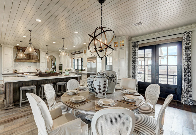 Farmhouse kitchen and breakfast nook. Farmhouse kitchen and breakfast nook. Dining set is from Ethan Allen. farmhouse-kitchen-and-breakfast-nook #Farmhousekitchen #Breakfastnook Alicia Zupan