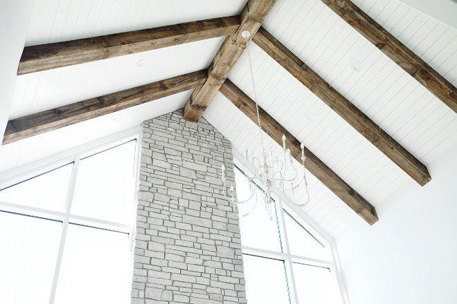 Ceiling Beams. Faux ceiling beams. The beams are actually faux beams. Beams can get expensive and heavy, so these are just barn wood that got mitered together. #ceilingbeams ##barnwoodbeams #beams #fauxbeams faux-ceiling-beams Beautiful Homes of Instagram @nc_homedesign via Home Bunch