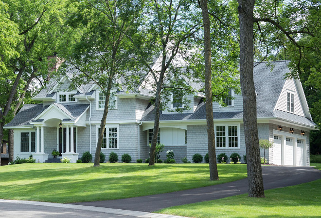 Grey shingle home exterior paint color Benjamin Moore Thunder AF-685. Grey shingle paint color Benjamin Moore Thunder AF-685. #BenjaminMooreThunderAF685 #greyshinglepaintcolor #greyshinglehomepaintcolor #greyexterior #paintcolor Henldel Homes