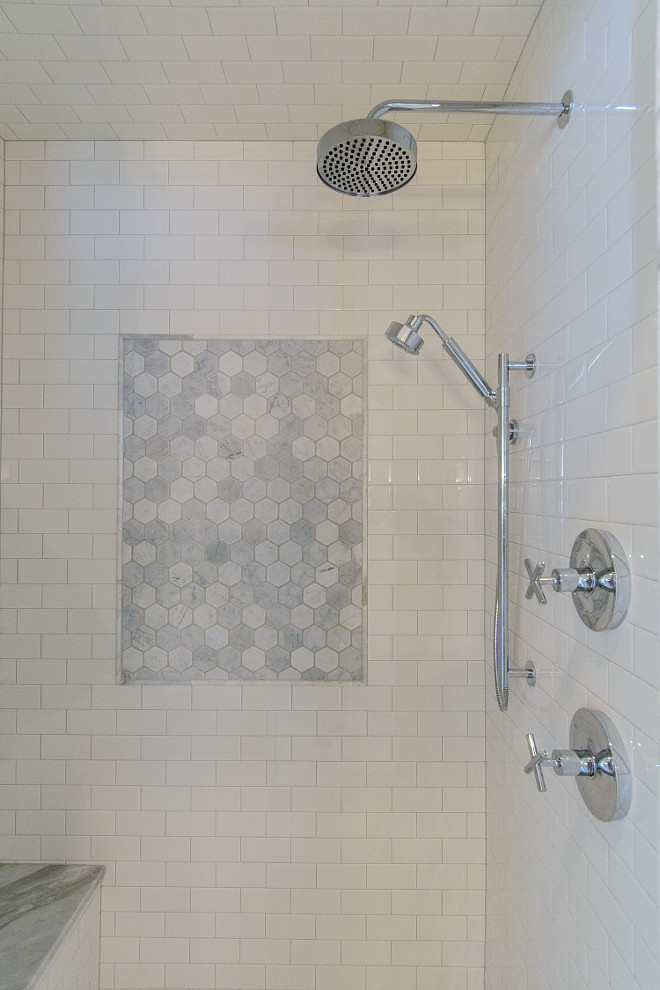 Hex Shower Accent Tile. Shower with hex tile. Hex Shower Accent Tile. Hex Shower Accent Tile Ideas #HexShowerTile #Accenttile hex-shower-accent-tile Tasha B. Davis Interiors, LLC.