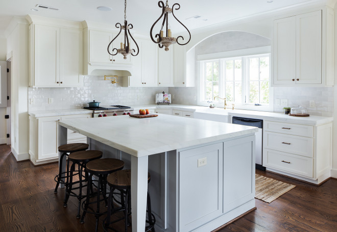 kitchen. White kitchen with pale gray island. kitchen. #kitchen #palegray #kitchenisland #grayisland Willow Homes