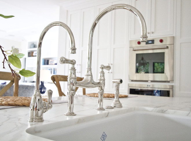 Kitchen faucet. Kitchen sink and faucet. Sink is Shaw and the kitchen faucet is Perrin & Rowe. #kitchen #faucet #sink #shawsink #PerrinandRowe kitchen-faucet Home Bunch Beautiful Homes of Instagram Bryan Shap @realbryansharp