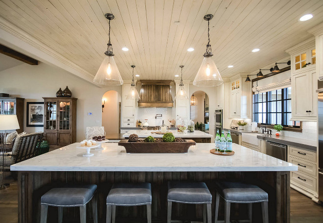 Kitchen Island Countertop. The islands feature Calcutta Marble counters. The islands feature Calcutta Marble counters. #Kitchen #islands #countertop #counters #Calcutta #marble Alicia Zupan