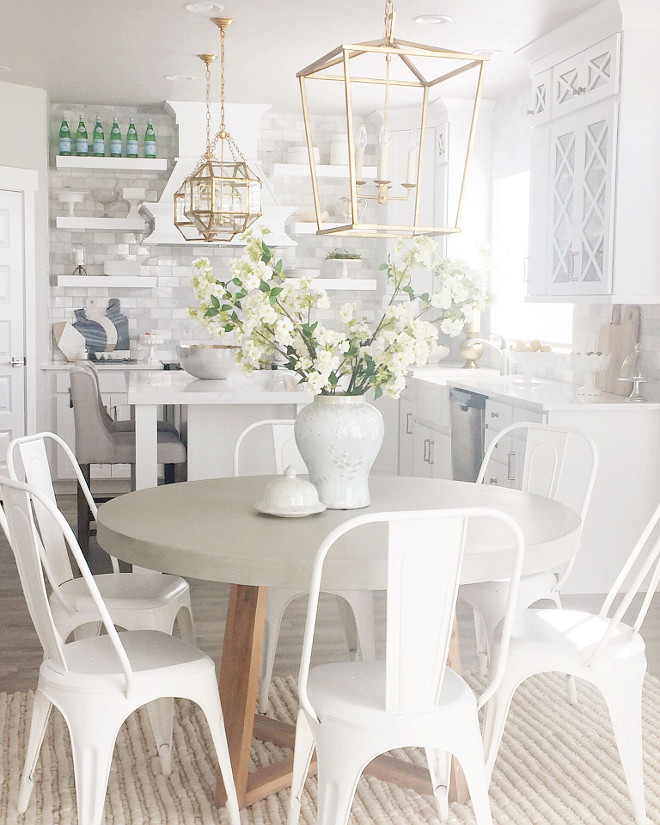 Kitchen cabinet paint color. Cabinet paint color is Sherwin Williams High Hide White (extra white base with 3 oz of white pigment added). #kitchencabinet #paintcolor #SherwinWilliamsHighHideWhite Home Bunch's Beautiful Homes of Instagram janscarpino