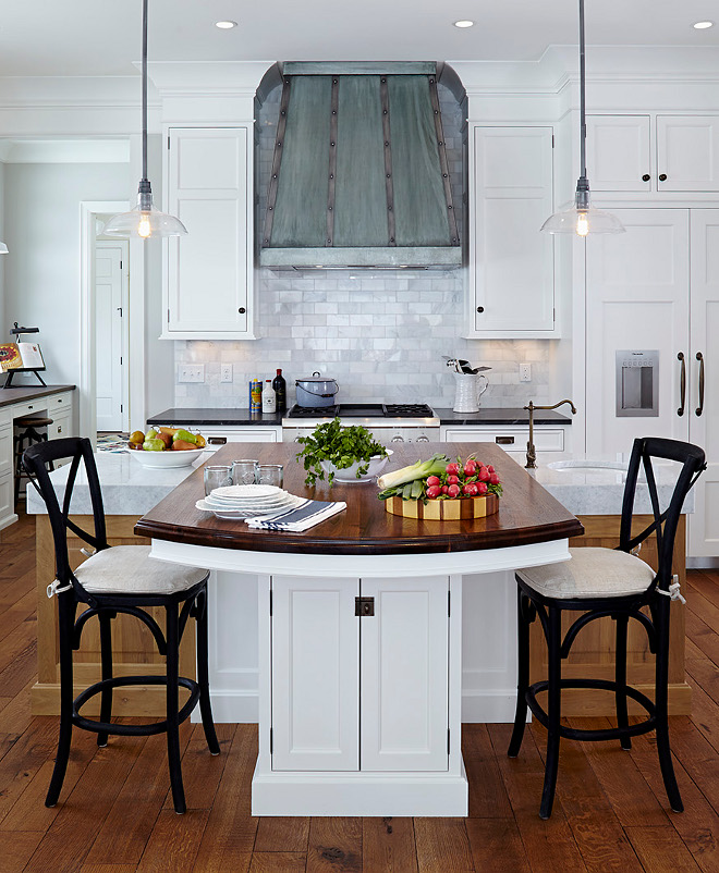 Kitchen Lighting and Backsplash. Kitchen Lighting and Backsplash. Kitchen Lighting and Backsplash. Backsplash is cararra marble tile. Lighting is Restoration Hardware Glass Dome Filament Pendant. #Kitchen #Lighting #Backsplash kitchen-lighting-and-backsplash Hendel Homes