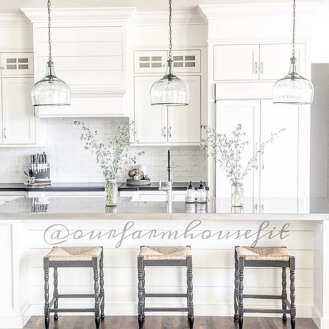 Farmhouse kitchen lighting. Kitchen lighting. Farmhouse kitchen lighting. Kitchen Lighting above Island is from Shades of Light, Large Glass Cloche Pendant Farmhouse kitchen lighting is #Farmhousekitchenlighting #Farmhousekitchenlight #Farmhousekitchenlightideas #Farmhouse #kitchenlightkitchen-lighting Home Bunch's Beautiful Homes of Instagram ourfarmhousefit