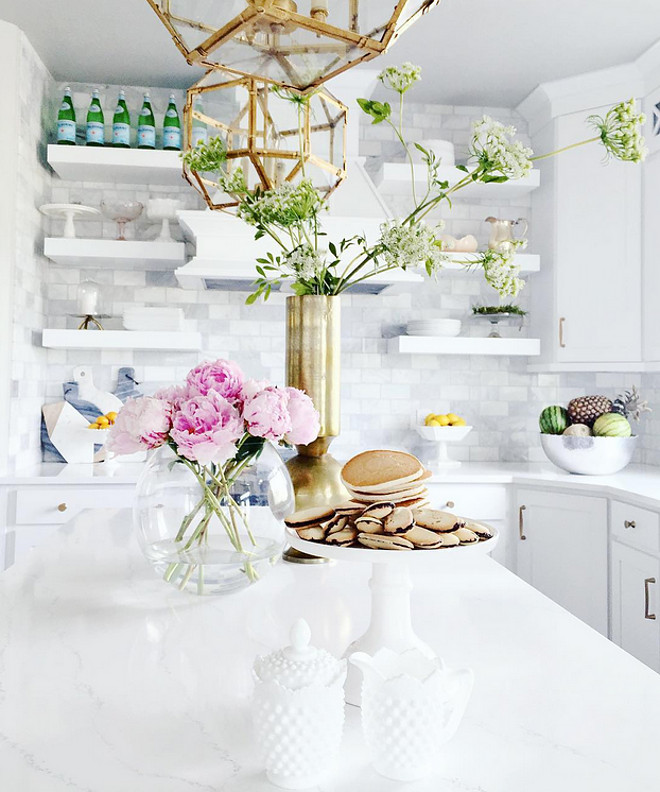 Kitchen. Pink Peonies on kitchen island #kitchen #kitchenisland #PinkPeonies kitchen-pink-peonies Home Bunch's Beautiful Homes of Instagram janscarpino