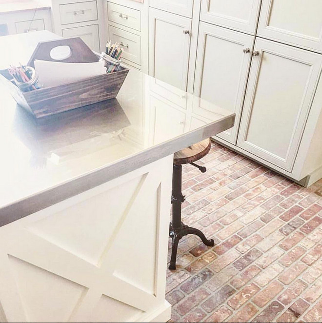 Laundry room brick flooring. Brick Flooring. The homeowner got the brick at a local tile shop. The brick is McNear Brick and the color is Dorado. #laundryroom #brickflooring #brick #flooring #brickfloor laundry-room-brick-flooring-ideas Home Bunch's Beautiful Homes of Instagram ourfarmhousefit