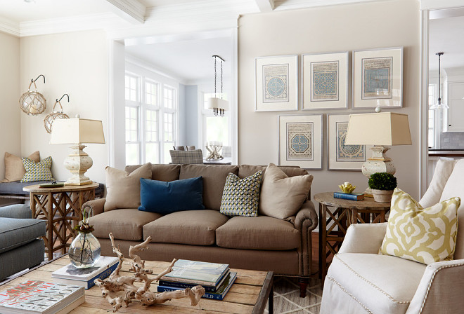 Light beige paint color. The light beige paint color is Accessible Beige, Sherwin Williams. I love the neutral paint color with the warm decor. This is a very inspirational color palette. light-beige-paint-color #AccessibleBeigeSherwinWilliams Hendel Homes