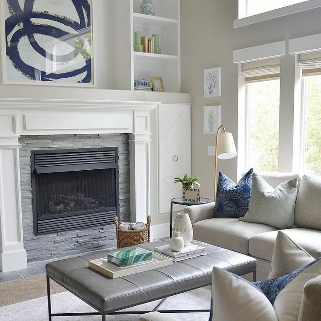 Living room. Soft grays and navy blue living room decor. Living room. Living room features soft grays and navy blue living room decor. living-room #Livingroom#softgrays #navyblue #navy #livingroom decor Sita Montgomery Interiors via Instagram.