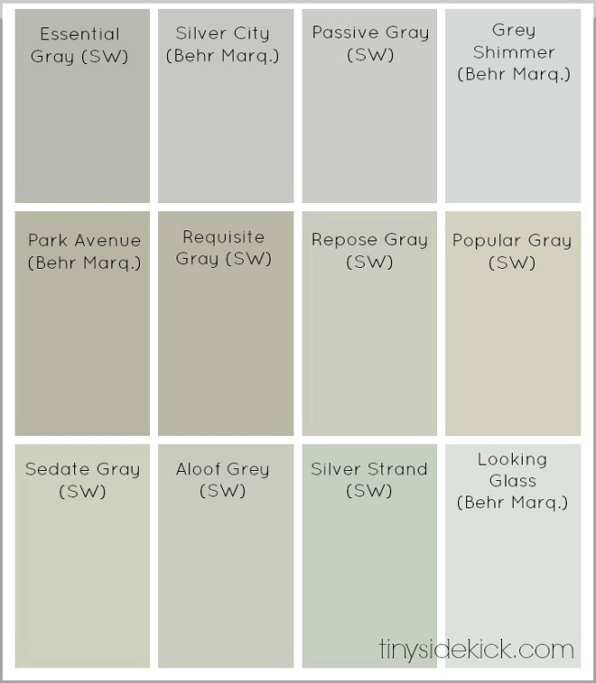 Great Collection Neutral Paint Colors. Sherwin Williams Essential Gray. Behr Silver City. Sherwin Williams Passive Gray. Grey Shimmer by Behr. Park Avenue by Behr. Sherwin Williams Requisite Gray. Sherwin Williams Repose Gray. Sherwin Williams Popular Gray. Sherwin Williams Sedate Gray. Sherwin Williams Aloof Grey. Sherwin Williams Silver Strand. Looking Glass Behr. neutral-paint-colors