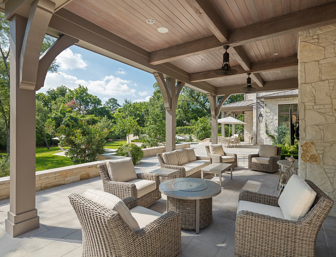 Patio. The stone flooring was selected by Alamo Stone in Houston. The ceiling was 1x6 pine stained in a custom color. Same for the columns, custom mixed stain. Allan Edwards Builder Inc