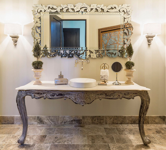 "French bathroom vanity countertop. Vanity countertop is 72"" honed Kashmire Cream Granite. #Frenchbathroom #vanity #countertop #KashmireCream #Granite #Honedgranite Hendel Homes"
