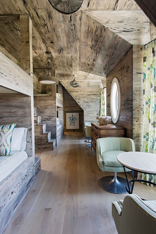 Rustic Bunk Room Pecky Cypress Wood Creates A Look To This Long