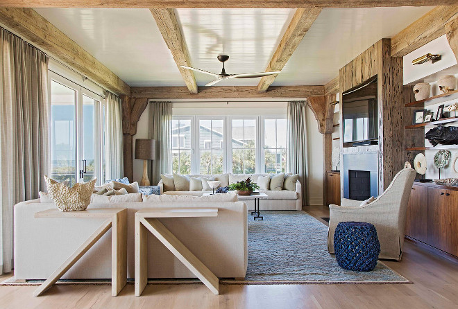 Living Room. Rustic Living Room. Blue Hues Play Perfectly Along The Neutral  Color Palette