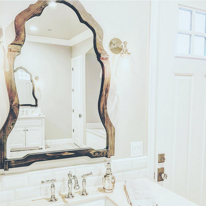 Rustic reclaimed wood mirror. This bathroom is full of great details, but these reclaimed wood mirrors really steals the show! #reclaimedmirror #mirror #reclaimedwood rustic-wood-bathroom-mirror Home Bunch's Beautiful Homes of Instagram ourfarmhousefit