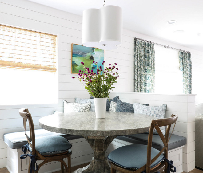 Shiplap Breakfast Nook and Shiplap Banquette. Shiplap Breakfast Nook and Shiplap Banquette and zinc table. #Shiplap #BreakfastNook #ShiplapBanquette shiplap-breakfast-nook-and-shiplap-banquette Erin Hedrick