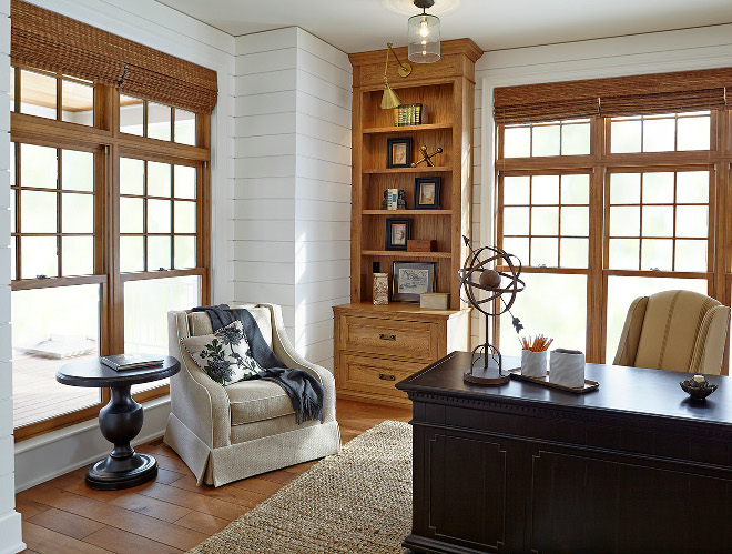Shiplap. The library showcases ship-lap siding and quarter-sawn white oak cabinets with extraordinary lighting. Home office features Shiplap wall paneling and white oak cabinets. #Shiplap #Shiplappaneling #Shiplap shiplap Hendel Homes