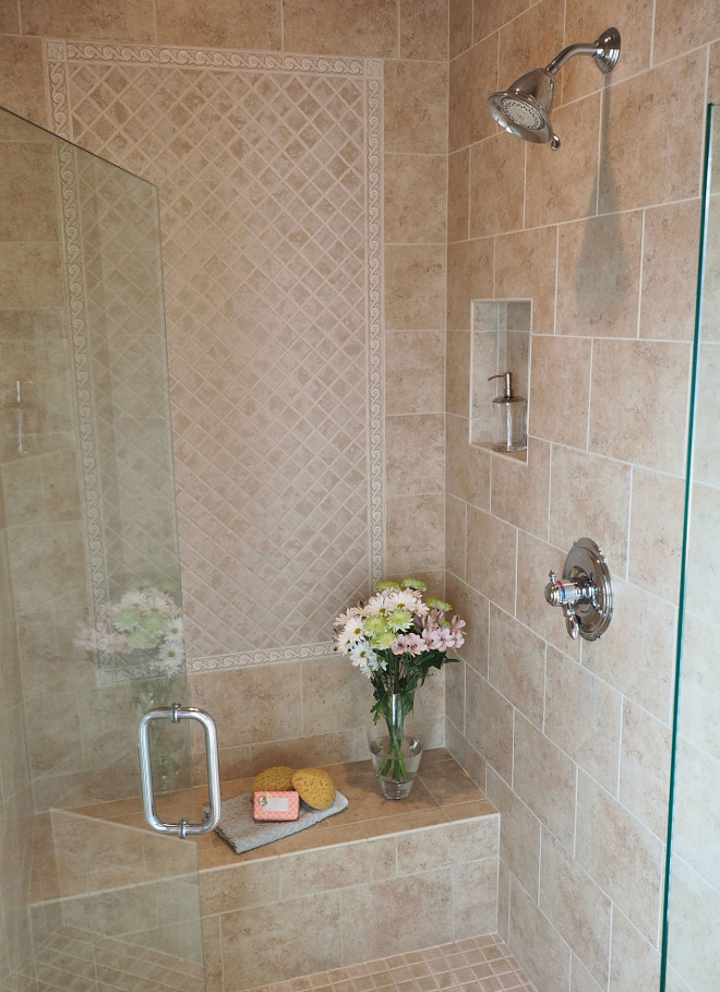 Shower tile combination. Shower and floor tile is Dal-Tile, style is Brixton and the color is Sand. The color on the center design in the shower is bone (same tile series.) #Shower #tile #tilecombination #daltile Home Bunch Beautiful Homes of Instagram wowilovethat