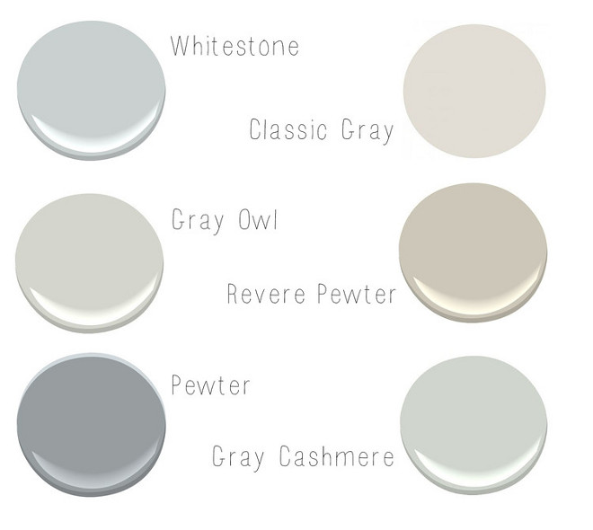 Soft, Neutral Benjamin Moore Paints. Soft Neutral Paint Colors. Soft Neutral Paint Colors by Benjamin Moore. Benjamin Moore Whitestone. Benjamin Moore Classic Gray. Benjamin Moore Gray Owl. Benjamin Moore Revere Pewter. Benjamin Moore Pewter. Benjamin Moore Gray Cashmere. #BenjaminMooreWhitestone #BenjaminMooreGrayOwl #BenjaminMooreReverePewter #BenjaminMoorePewter #BenjaminMooreGrayCashmere #Softpaintcolors #NeutralPaintColors