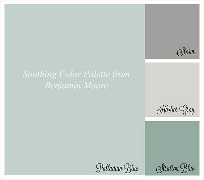 Soothing Color Palette from Benjamin Moore: Benjamin Moore Palladian Blue. Benjamin Moore Storm. Benjamin Moore Harbor Gray. Benjamin Moore Stratton Blue. #BenjaminMoorePalladianBlue #BenjaminMooreStorm #BenjaminMooreHarborGray #BenjaminMooreStrattonBlue soothing-color-palette-from-benjamin-moore