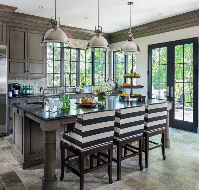 Kitchen Stools & Lighting. Kitchen Stools & Lighting ideas. Kitchen Stools & Lighting. Kitchen stools are from Ballard Designs. Kitchen pendants are Capital Lighting 4432PN Transitional 1-Light Pendant, Polished Nickel Finish - $200 each. #kitchenstools #kitchen #lighting Hendel Homes