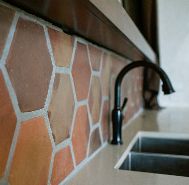 Terracotta tile as backsplash. Perfect for rustic kitchen and outdoor kitchens. terracotta-tile-backsplash Rustico Tiles.