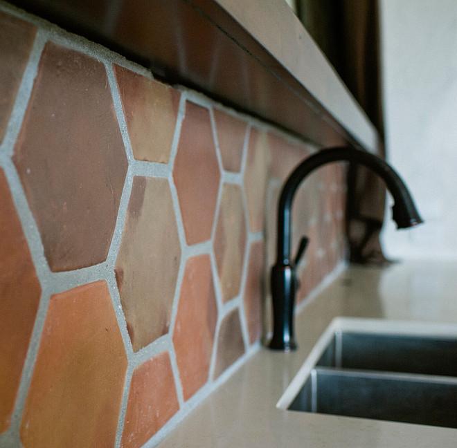 Terracotta tile as backsplash. Perfect for rustic kitchen and outdoor kitchens. terracotta-tile-backsplash Rustico Tiles.