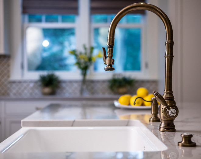 Kitchen Faucet. The faucet is Waterstone 5600-ABZ Traditional PLP Pulldown Kitchen Faucet Antique Bronze by Waterstone, around $1.500 #kitchenfaucet #kitchen #faucet #Waterstone #5600ABZTraditionalPLPPulldown #KitchenFaucet #AntiqueBronze #Waterstone Quartersawn Design Build