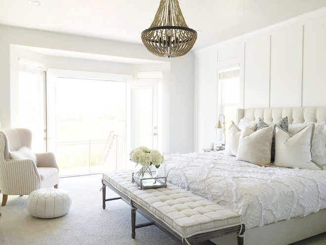 White bedroom. White master bedroom. White bedroom furniture. Master Bed: One Kings Lane. Master Accent Chair: Homegoods. Side Tables: West Elm. Side Table Lamps: J Hunt. #bedroom #whitebedroom #bedroom #furniture Home Bunch's Beautiful Homes of Instagram janscarpino