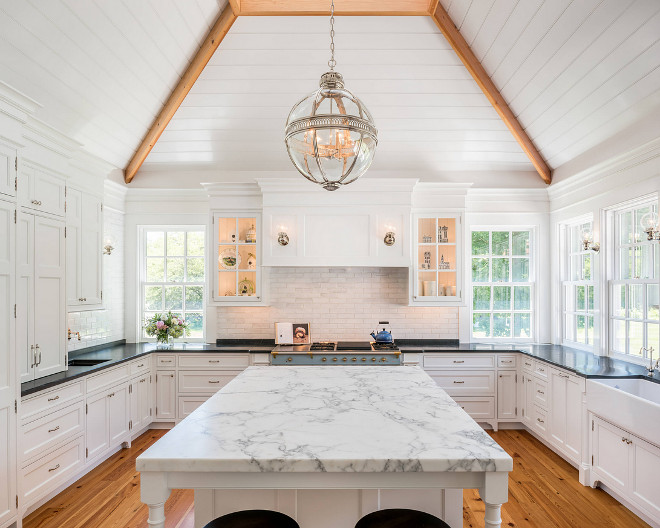 White kitchen plank ceiling. Beautiful white kitchen with white plank ceiling. #Whitekitchenplankceiling #whitekitchen #plankceiling white-kitchen-plank-ceiling EC Trethewey Building Contractors, Inc