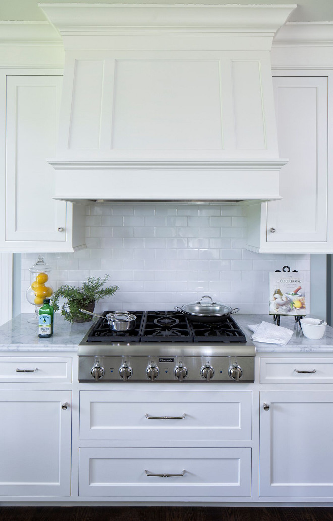 White Subway Tile Backsplash with Crisp White Cabinets. Kitchen white subway backsplash tile is American Olean (AO) 3x6 in Ice White. White Subway Tile Backsplash with Crisp White Cabinets. Classic kitchen combination of White Subway Tile Backsplash with Crisp White Cabinets #WhiteSubway #TileBacksplash #CrispWhiteCabinets #kitchen Hendel Homes