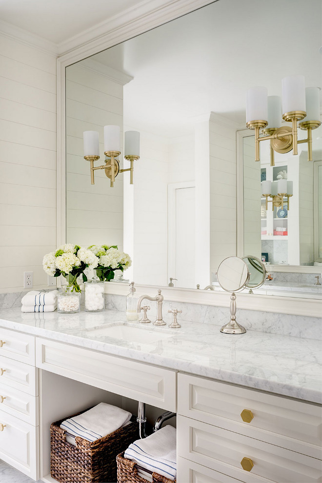 White bathroom with brass finishes. White bathroom with brass finishes #Whitebathroom #brassfinishes white-bathroom-with-brass-finishes J & J Design Group, LLC