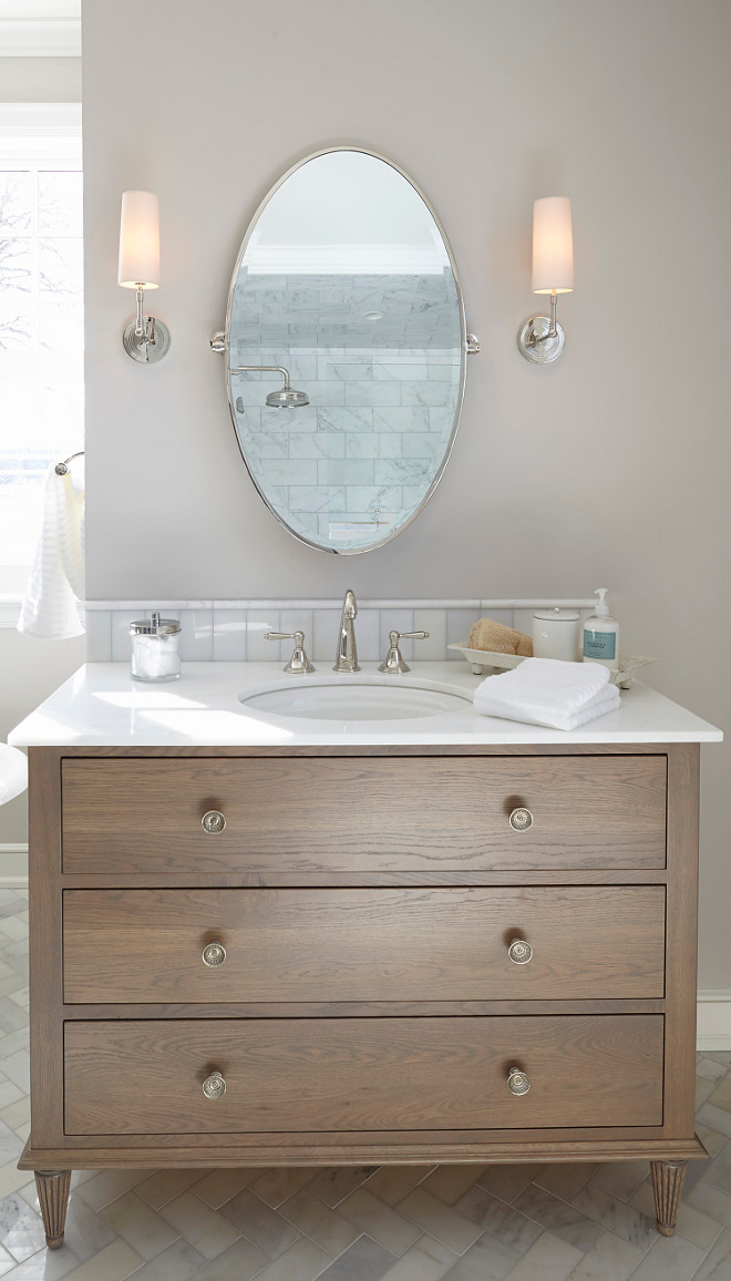 White oak stain bathroom vanity. Vanity was custom designed and built. The wood type is White Oak with a light gray brown stain. White oak stain bathroom vanity #Whiteoak #Whiteoakstain #Whiteoakbathroom #Whiteoakbathroomvanity vanity white-oak-stain-bathroom-vanity Hendel Homes