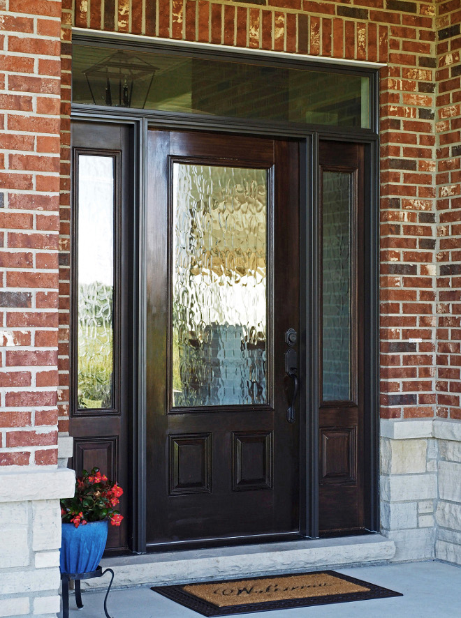 Door. Front door, sidelights and transom are Pella Window & Door Company – Glass is obscure on door and sidelights. #Door #frontdoor #sidelights #glass #obscureglass #obscuredoorglass Home Bunch Beautiful Homes of Instagram wowilovethat