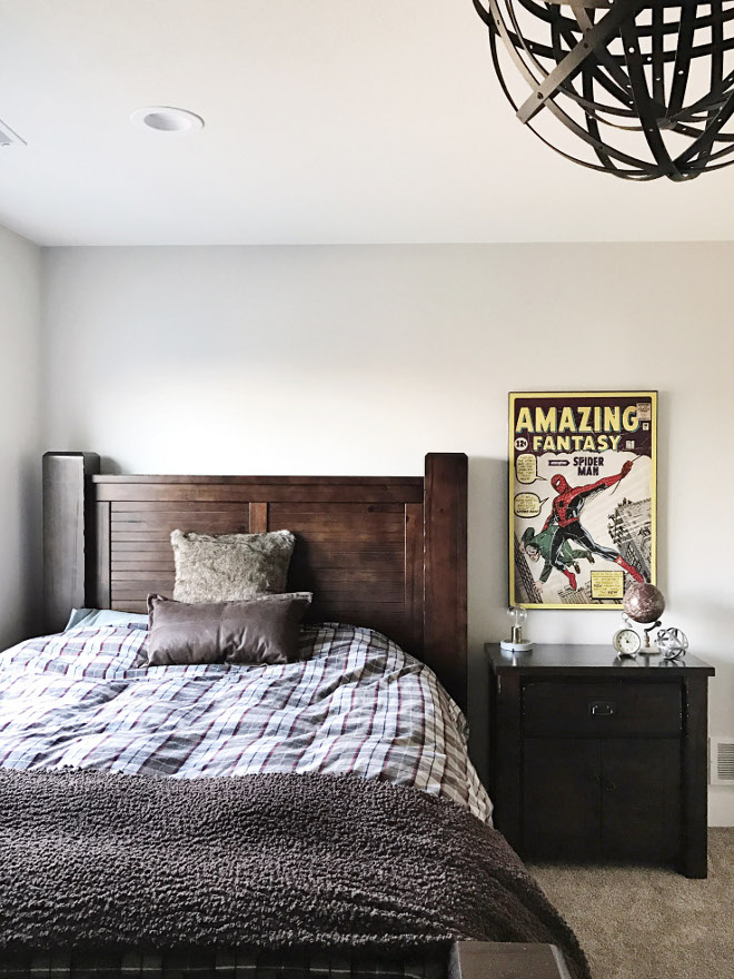 Boys bedroom. Spider man boys bedroom. For this room, I wanted it to be more rustic with more browns, grays, and accents of maroon/red. Spider-man Wall Art is from Hobby Lobby. Comics art. Paint Color: Behr Silver Drop. Beautiful Homes of Instagram @nc_homedesign via Home Bunch