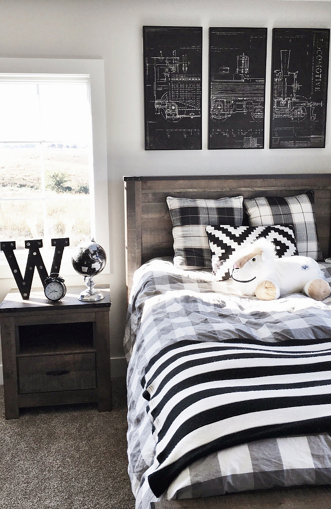 Boy bedroom. Boy bedroom ideas. Transitional boy bedroom decor. Bedroom Furniture Set: Slumberland. Train Wall Art: World Market. #boybedroom #boybedroomdecor #boybedroomideas #transitionalboybedroom Beautiful Homes of Instagram @nc_homedesign via Home Bunch