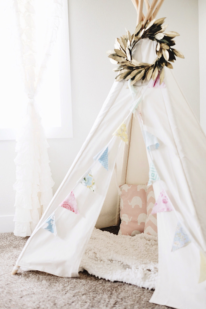 Kids teepee. Teepee is from amazon. #teepee #kidsteepee #bedroomteepee #playroomteepee Beautiful Homes of Instagram @nc_homedesign via Home Bunch