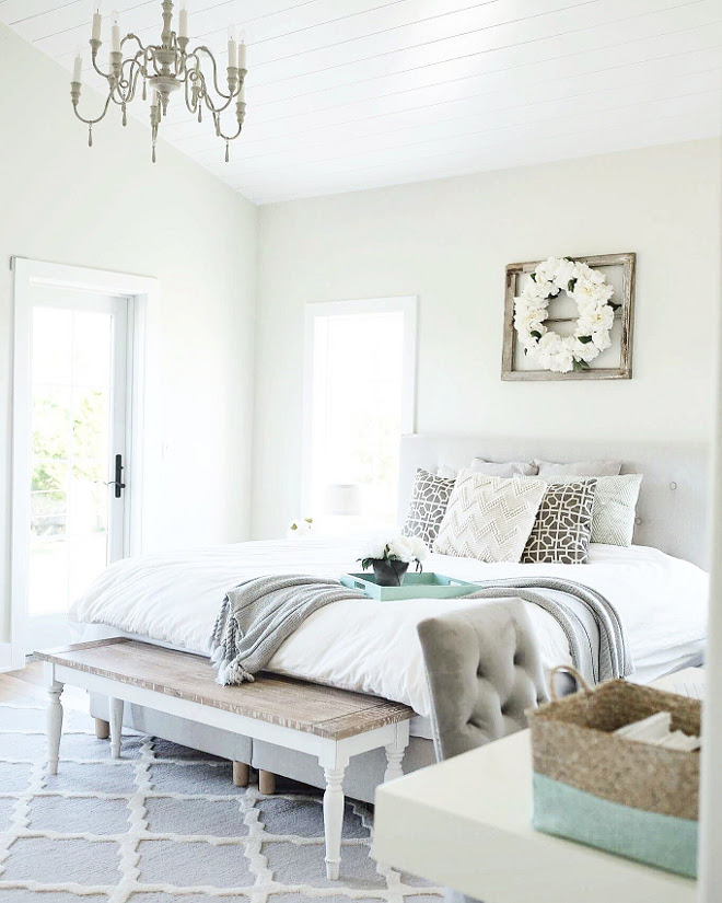 Farmhouse Master bedroom. I wanted our bedroom to be calming and relaxing, so I went with a lot of whites and soft colors. Farmhouse master bedroom. #Farmhousemasterbedroom #farmhouse #masterbedroom #farmhousebedroom #bedroom Beautiful Homes of Instagram @nc_homedesign via Home Bunch