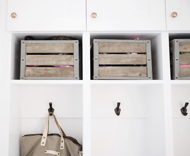 Mudroom storage. Mudroom wooden crates. Farmhouse mudroom with wooden crates. The wooden crates are World Market's Sebastian Crates. #mudroom #storage #woodencrates #crates mudroom-wooden-crates-world-market Beautiful Homes of Instagram @nc_homedesign via Home Bunch