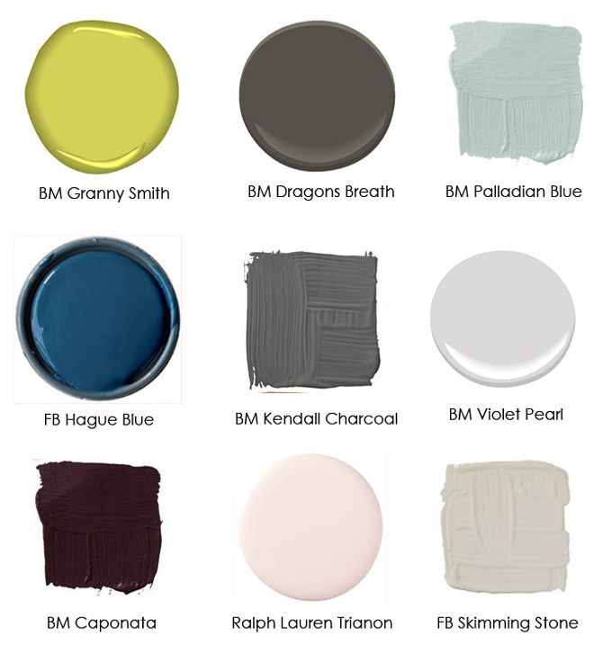 Benjamin Moore Granny Smith. Benjamin Moore Dragons Breath. Benjamin Moore Palladian Blue. Farrow and Ball Hague Blue. Benjamin Moore Kendall Charcoal. Benjamin Moore Violet Pearl. Benjamin Moore Caponata. Ralph Lauren Trianon. Farrow and Ball Skimming Stone. #Transitionalpaintcolors #paintcolors #colorpalette