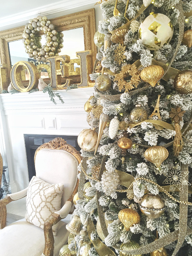 Golden Faux Flocked Tree . The faux flocked tree is from King of Christmas. Golden Faux Flocked Tree #FauxFlockedTree #FlockedTree mk_interiors_-molly