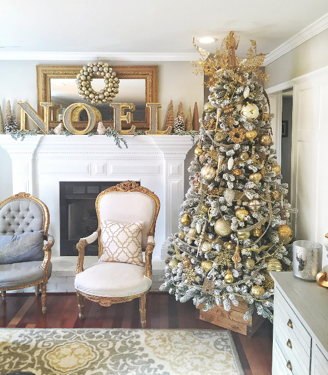 Farmhouse Christmas tree skirt. The wood crate the tree is in was made by the designer's husband because she wanted something different than a tree skirt. Farmhouse Christmas tree skirt ideas #FarmhouseChristmastree #FarmhouseChristmastreeskirt mk_interiors_