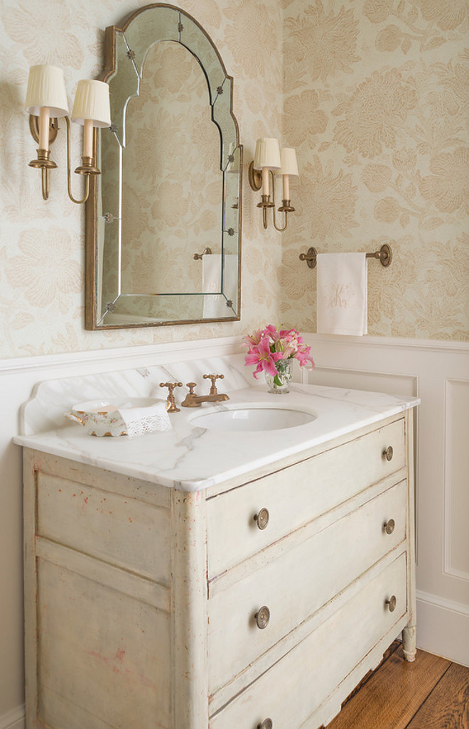 Bathroom antique dresser. Bathroom antique dresser. The vanity was made from a converted antique dresser and the wallpaper is Tyler graphics. #Bathroomantiquedresser #Bathroom #antiquedresser bathroom-antique-dresser