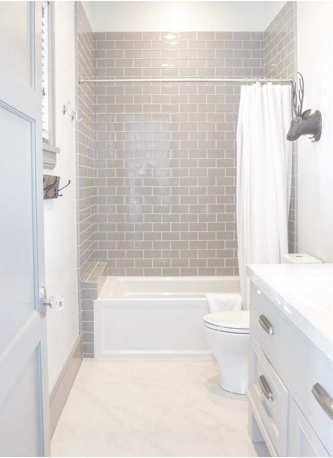 Bathroom features gray wall tile. Tile is Emser Lucente Fog in a 3x6 size, used in a Brick Pattern. #bathroom #graytile #gray #tile bathroom-gray-glass-tile Home Bunch's Beautiful Homes of Instagram @artfulhomestead