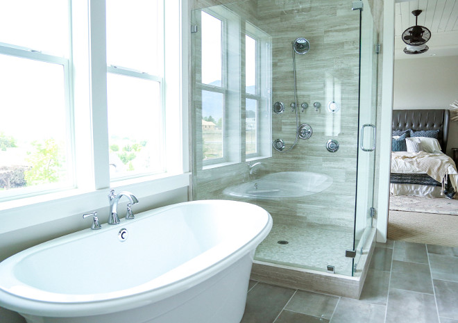 Bathtub and glass shower layout. Millhaven Homes