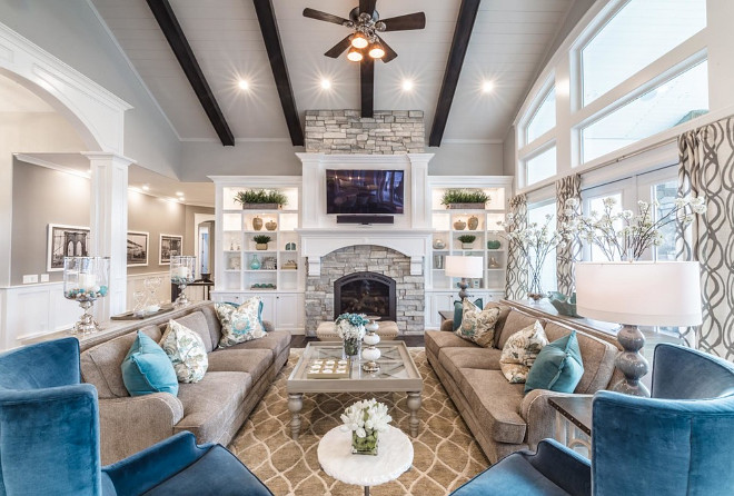 The beams are an oil base stain by Sherwin Williams. The color is called Smoky. Ceiling beam color. #Ceilingbeamcolor #beamcolor #beams #oilbase #beamstain #SherwinWilliams #color #Smoky beam-color Tree Haven Homes