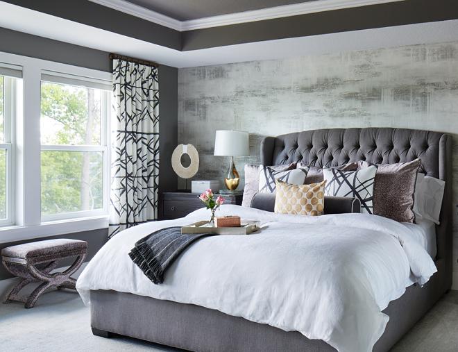 Velvet Bed. Grey velvet bed. Bed is Vanguard in Romo velvet fabric. #Velvetbed #velvetfabric #greyvelvet Vivid Interior Design