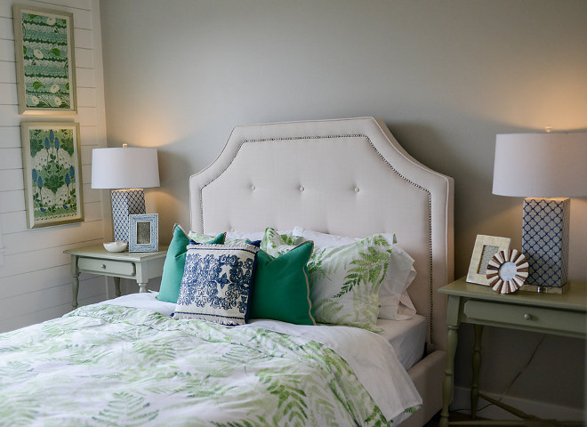 Bedroom accent color. Splash of green decor brings a great energy to this bedroom. #bedroom #accentcolor Millhaven Homes